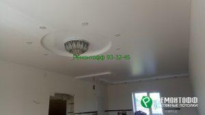 Двухуровневый натяжной потолок 8 м2 белый матовый.