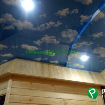 Натяжной потолок с фотопечатью в ванную комнату в Ульяновске.