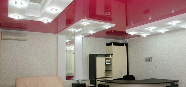Натяжные потолки в офисе фото, компания Ремонтофф. Натяжные потолки в Ульяновске под ключ.