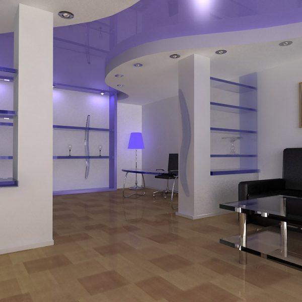 Натяжные потолки в офисе фото, компания Ремонтофф. Натяжные потолки в Томске под ключ.