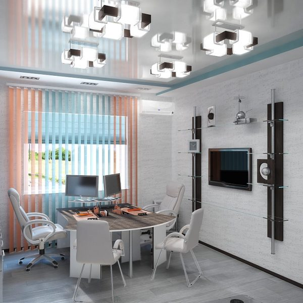 Натяжные потолки в офисе стоимость от производителя Ремонтофф. Натяжные потолки в Томске под ключ.